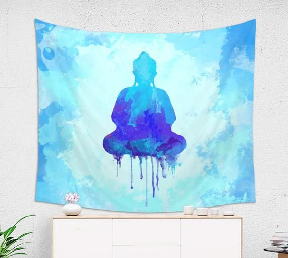 Buddha Wall Art Tapestry From Lightweight Fabric Watercolor Etsy Buddha Wall Art Modern Wall Tapestries Tapestry