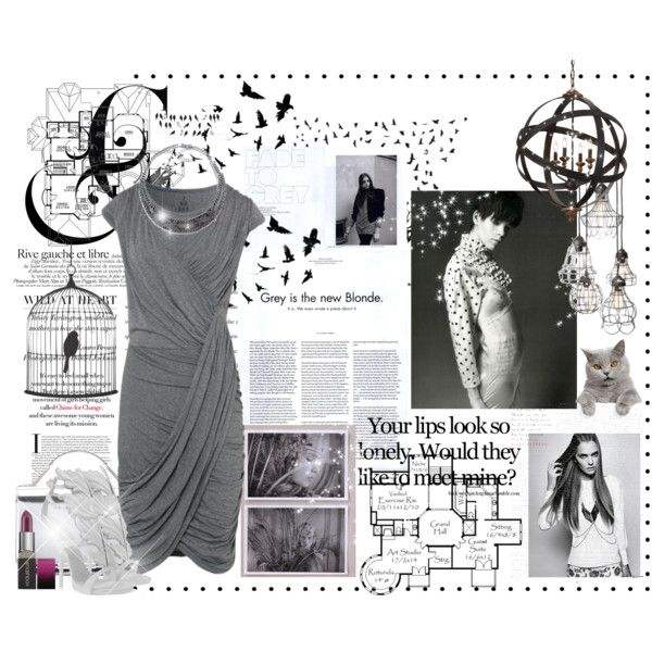 Fantasy Outfit#125 - #Grey #Dress Created by jinath-hyder on #polyvore #greydress #julesb Women's 2nd Day Careo Dress in #grey, #Zara #Necklace With #Sparkly #Stars, #GiuseppeZanotti #Sandals Women, EMILIO #PUCCI 'Mirron' chain #handbag, #Smashbox Fade To Black Be Legendary #Lipstick