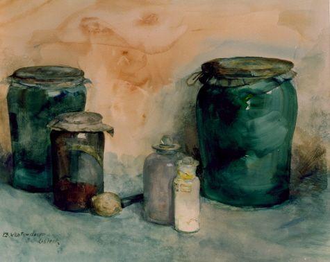 J.E. (Betsy) Westendorp-Osieck 1880 - 1908 Stilleven met glazen verfpotten