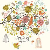 Pássaros nas flores ni árvore fora das gaiolas. fundo de conceito de primavera em vetor. composição floral pode ser usado ans convite de casamento — Ilustração de Stock #25057375