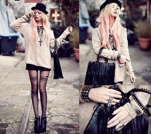 pastel goth street style, not sure if I could rock this but I would def. try!!