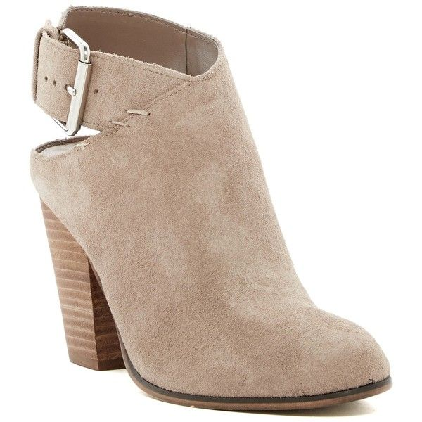 Carlos By Carlos Santana Hawthorn Bootie ($60) ❤ liked on Polyvore featuring shoes, boots, ankle booties, doe, stacked heel boots, carlos by carlos santana boots, stacked heel ankle boots, open back bootie and stacked heel bootie