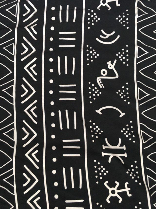 African Print, Stretch Cotton Jersey Fabric- Black, White