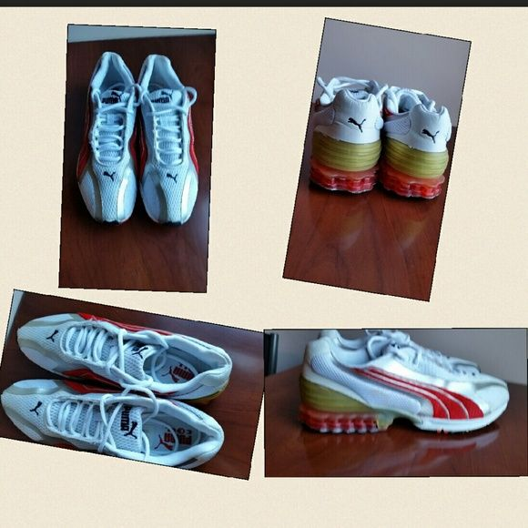 Puma running shoes for men Size 12 white/red worn a couple of times.  Very clean, recently had  dressing spill, and after washing them there was a clear mark left almost unnoticeable. Other than that the shoes are in great condition. Puma Shoes Athletic Shoes
