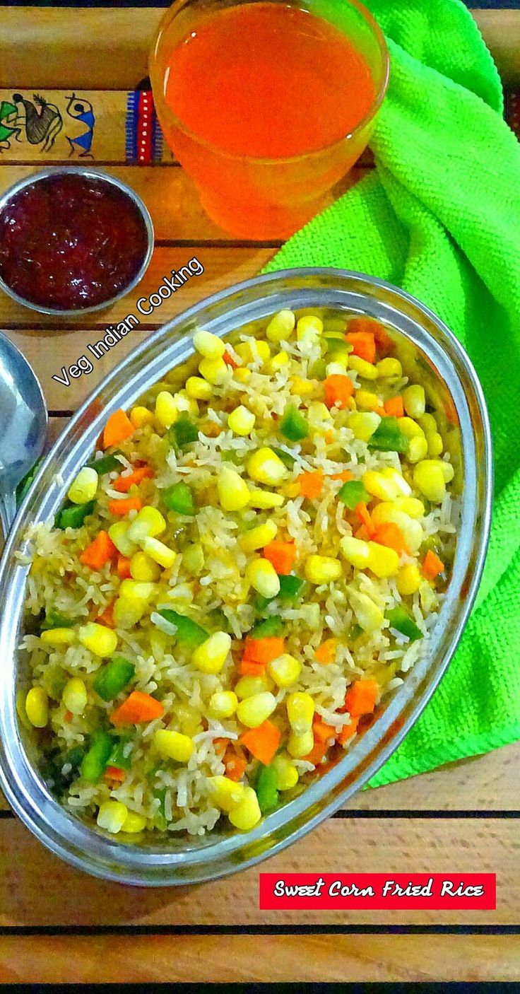 Sweet Corn Fried Rice  Sweet Corn Fried Rice is an Indo Chinese recipe of steamed rice and veggies which are stir fried with sweet corn and colourful veggies and flavoured and spiced with green chillies and fried rice masala powder.  #friedrice #rice #indochineserecipe  #foodblogger #indochinese #vegindiangoodfood #vegindiancooking #yummilicious #yum #indianfoodblogger #sweetcorn #corn #vegetarian #recipe #indianrecipes #easyrecipe