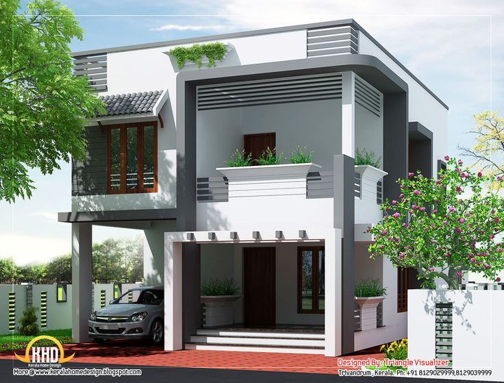 Bhavanas  X  SW Corner Duplex House For The Home - House design elevation photo