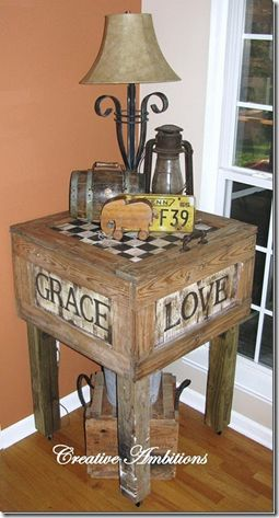 Old Wood Crate...repurposed into a rustic side table...with handpainted sides & checkerboard