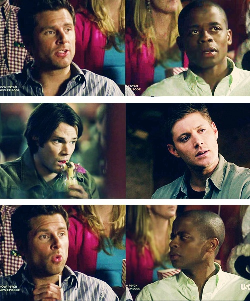 """supernatural/psych...funny enough, Sam & Gus would off talking about something """"smart""""- while, Shawn and Dean """"fanboy"""" over everything. Seriously, it's a group of nerd, fanboys if you ask me. Setting aside the fact that the Winchesters are practically serial killers..."""