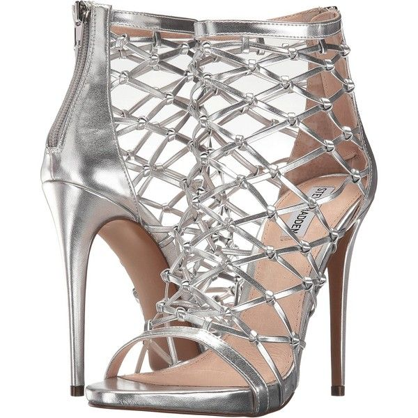 Steve Madden Ursula (Silver) Women's Shoes ($55) ❤ liked on Polyvore featuring shoes, sandals, silver, steve madden sandals, caged shoes, steve madden shoes, synthetic shoes and leather upper shoes