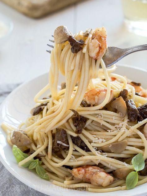 espaguetis con setas