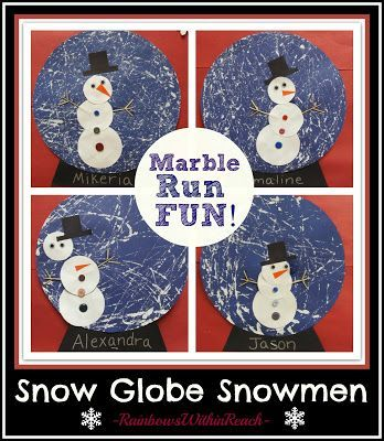 Winter art for kids: snow globe snowmen using marble painting technique.