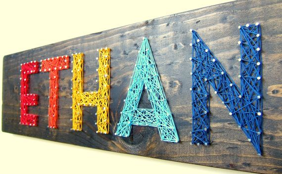 Woud really love to make one of these! [Modern String Art Wooden Name Tablet  5 letters by NineRed on Etsy, $85.00]