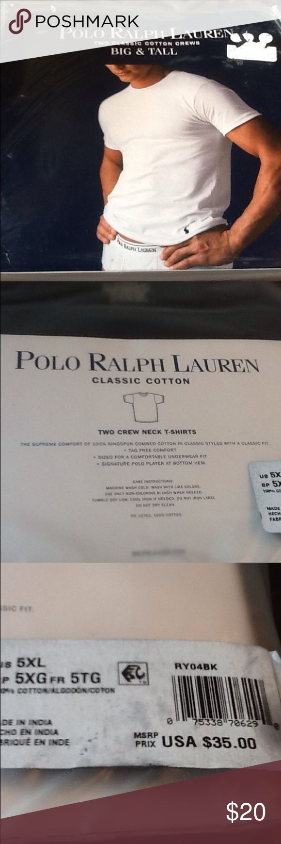 Men's POLO RALPH LAUREN lot of 2 black t shirts Men's 5x black soft cotton TEES shirts, has signature polo player logo on bottom hem of shirt, crew neck, BLACK, tag free comfort, sized for underwear fit, MSRP $35 (this is the only one I have left) FATHERS DAY GiFT, classic COTTON. Big & Tall size. polo ralph lauren Underwear & Socks Undershirts