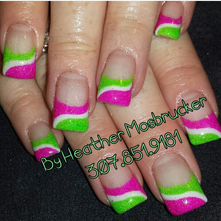 Lime Green Nails   lime green, white, and hot pink gel nails