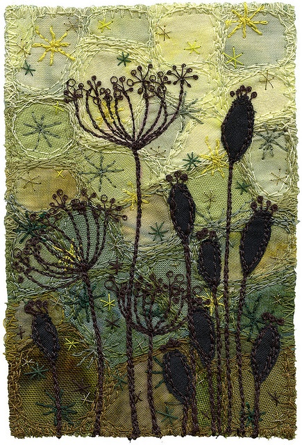 Seedpods 5 by Kirsten's Fabric Art