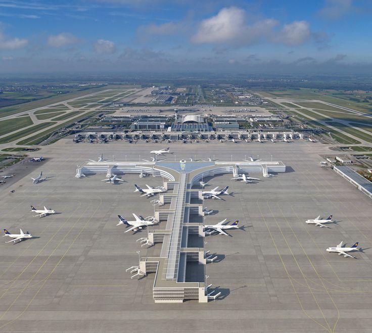 Franz Josef Strauss Munich Airport, near Freising, Germany - Terminal 2 (Lufthansa + Star Alliance) (2003) - Proposed Satellite Extension