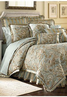Jacobean pattern in pale aqua and taupe