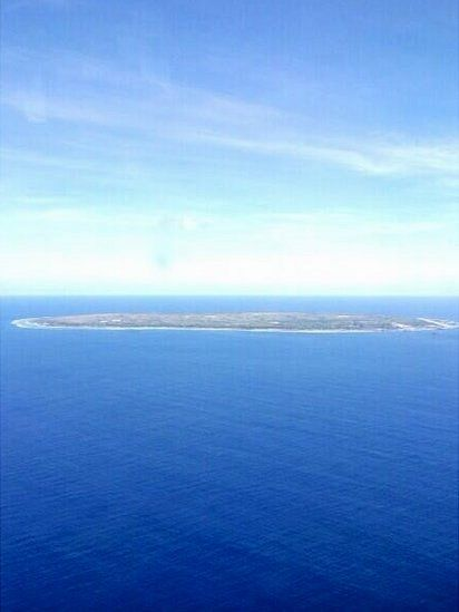 The island of Nauru form the air, covering just 21 sq. kilometres it is officially the smallest republic in the world.