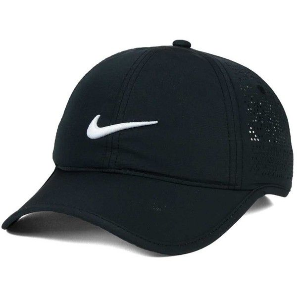 Nike Women's Golf Performance Cap ($27) ❤ liked on Polyvore featuring accessories, hats, black, cap hats, nike, nike hat and nike cap
