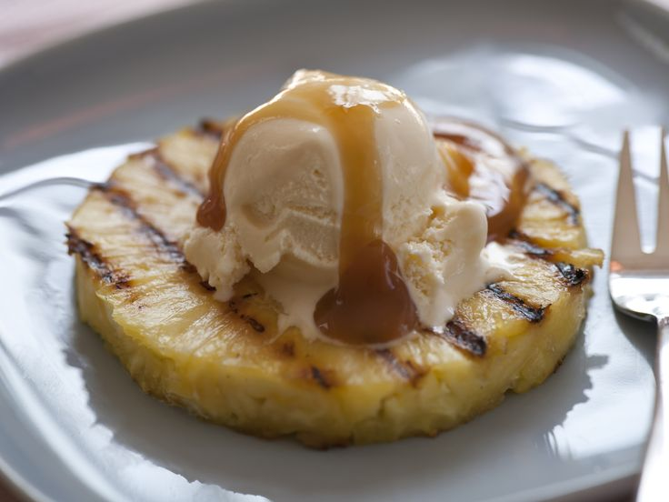 Grilled Pineapple with Vanilla Ice Cream And Rum Sauce Recipe : Ellie Krieger : Food Network - FoodNetwork.com