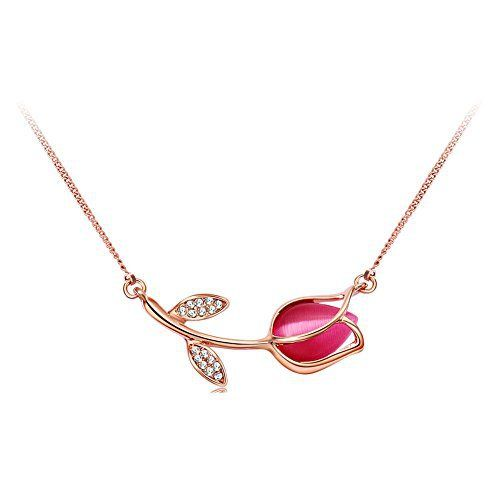 Pretty pink tulip flower necklace, think of Mom on Mothers Day