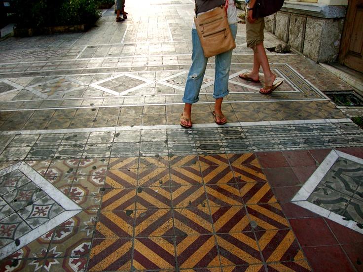 sidewalks in Piraeus, Athens, Gr.