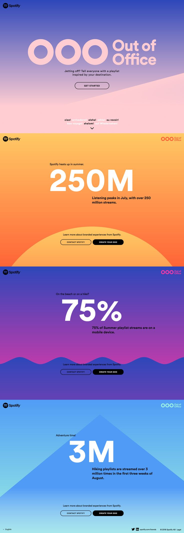 """Colorful One Pager with gradients that change as you scroll promoting Spotify's fun """"out of office"""" playlist generator."""