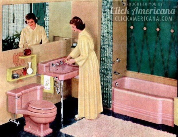Perfect 16 Retro Pink Bathroom Styles Of The 1950s Part 22
