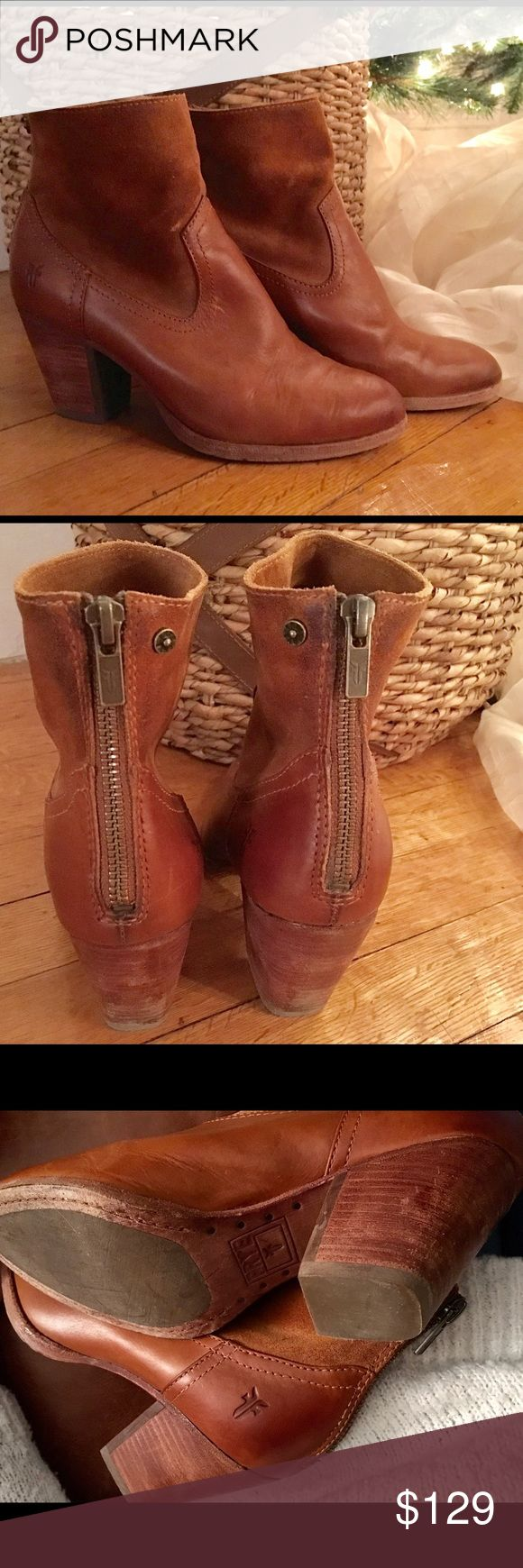 """Frye Tessa Ankle Boots Top rated and out of stock on the frye website. Some signs of wear, but in great shape. Plus, boots like these get better with age 😉 Vintage leather & oiled suede. 3"""" heel. Full zip in back. Frye Shoes Ankle Boots & Booties"""