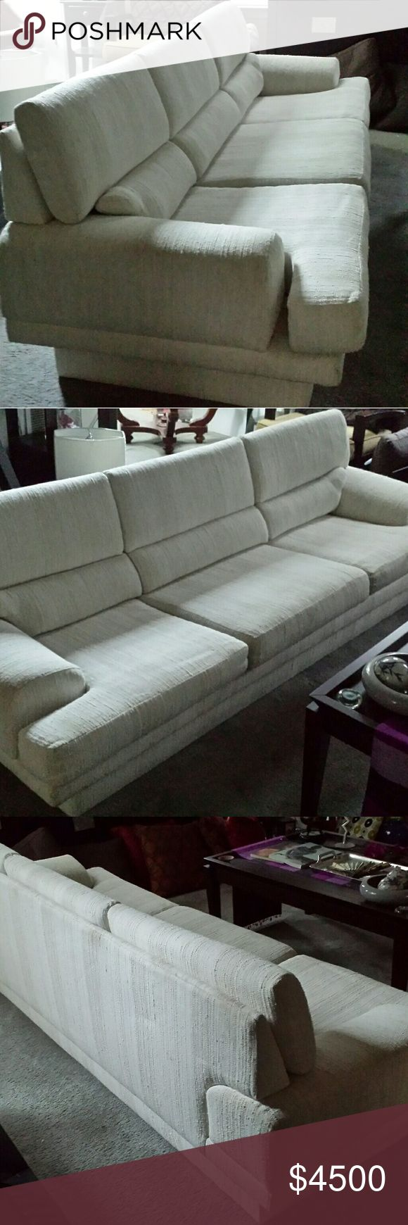 """Authentic 1960s MILO BAUGHMAN Danish Modern Sofa This awesome Milo Baughman Danish Modern Sofa is a retro classic original, designed in the 1960s by the now deceased world famous furniture designer for Thayer Coggin of North Point, North Carolina. It measures 90"""" L x 33"""" W x 30"""" H. Prefer to sell but open to rentals to set designers, homestagers and photographers. This Mid-Century marvelous piece is perfect for a loft space or any open living room area in need of a dramatic focal point. In…"""