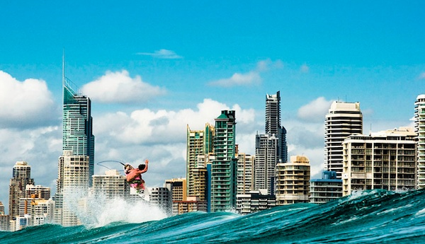 Catching a wave off the Gold Coast