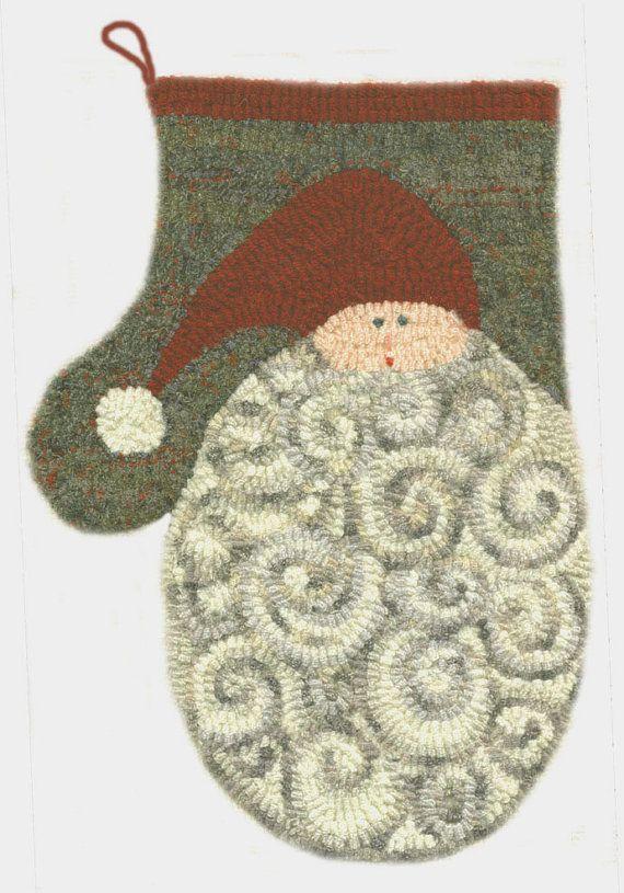 Santa Mitten  Original Hooked Rug Pattern  by maryellenwolffdesign,