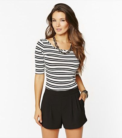 Stay cool and breezy with this scoop striped body con tee!