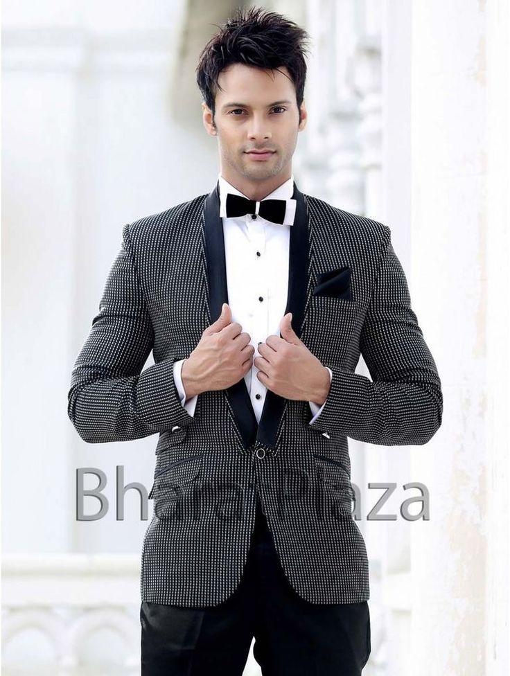 Partywear Reception Designer one Button Two Piece Collar Bow Tie Men Suit #BharatPlaza #DesignerMenSuit