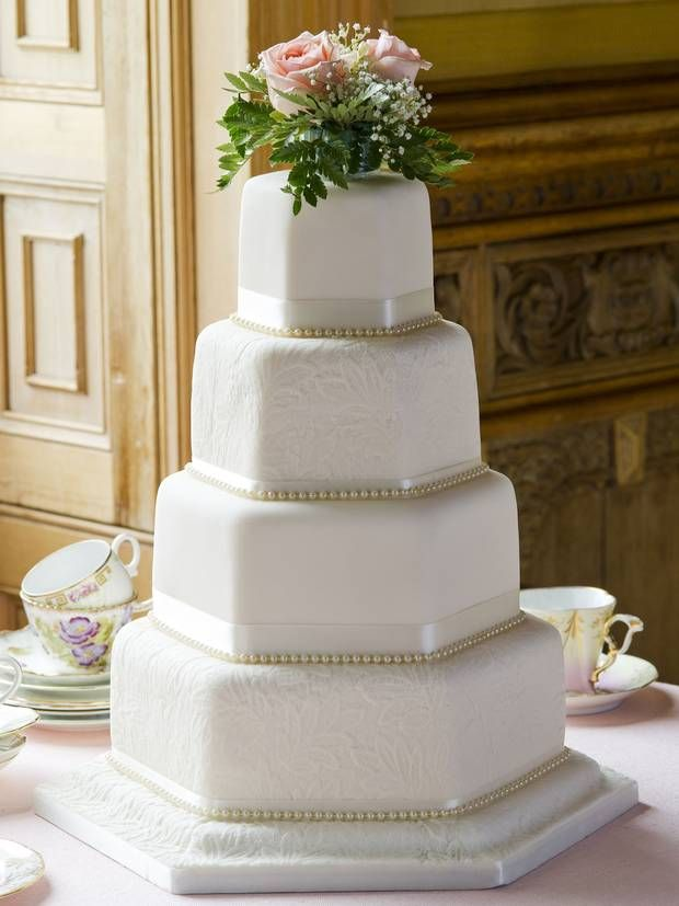 Grace - This luxury brand does ornate designs, such as this hexagonal vintage style, with intricate patterned icing and gold beading. The sponge flavours are exotic, too, from Oreo to chocolate and chilli, and coconut and lime to Blue Velvet.