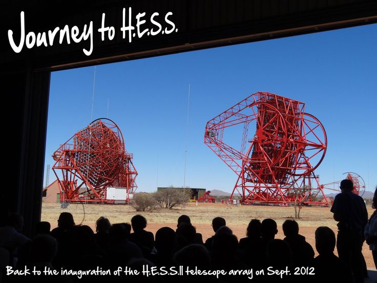 Journey to H.E.S.S. is a travel diary about the celebrations of the H.E.S.S.II telescope in the Khomas Highland at an altitude of 1,800 m, and about 100 km South-West of Windhoek, Namibia's capital (see where on a map).
