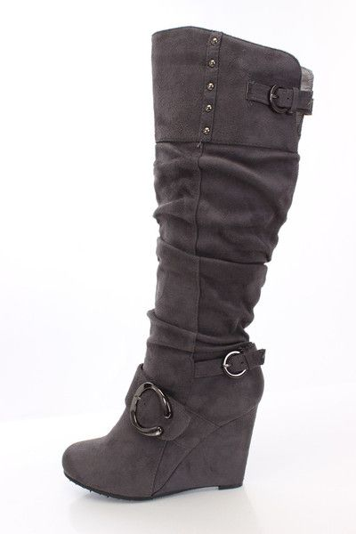 wedding accessories online sale Suede Buckle Slouchy Knee High Wedge Boot