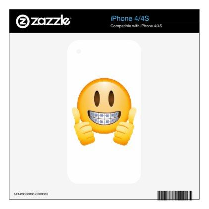 Geeky Braces Emoji iPhone 4S Decal  $20.00  by Incredible_tee_Memes  - cyo diy customize personalize unique