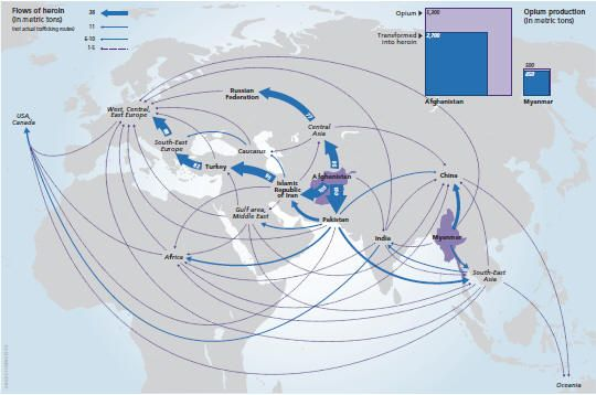 Global heroin flows from Asian points of origin