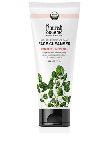 Moisturizing Organic Face Cleanser - This gentle cleanser washes away impurities without drying, irritating or causing redness. Cucumber hydrates and soothes. Watercress, rich in antioxidants, helps protect skin from free radical damage. Fragrance-Free. #GlutenFree. #Vegan http://nourishorganic.com/collections/face/products/moisturizing-face-cleanser