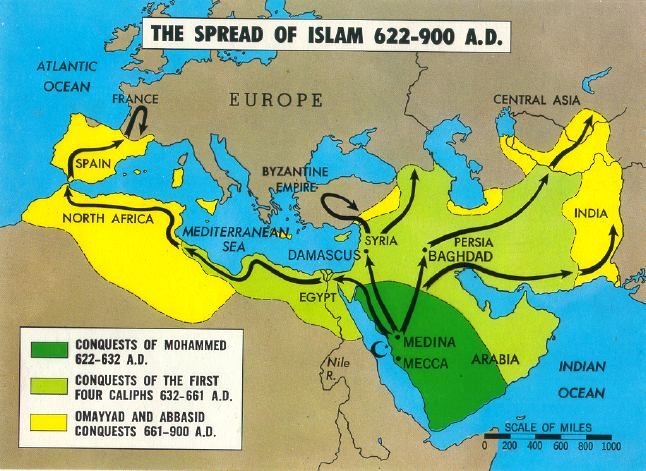 Islamic territories by 900 AD.