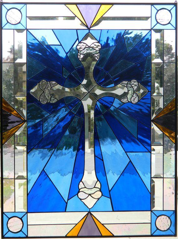 BEVEL CROSS WINDOW Stained Glass Window by LegacyStainedGlass, $235.00