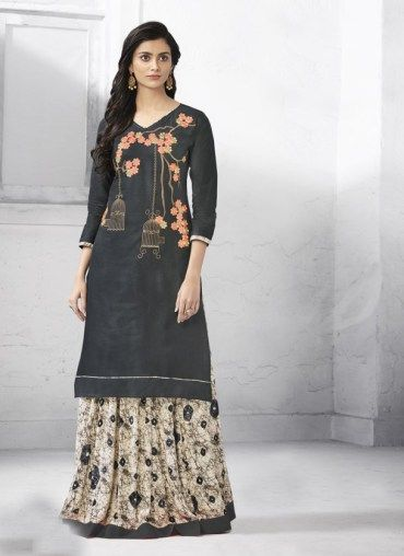 51c71056d Scart material printed rayon cotton. These casual dresses are very  comfortable for this summer season. Embroidered #Kurti With #Skirt Kurti  Fabrics: Cotton ...