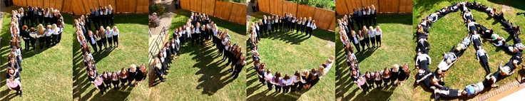 Students from Felsted School, Dunmow, Essex in the Upper Sixth boarding house celebrated Peace Day by spelling out PEACE.