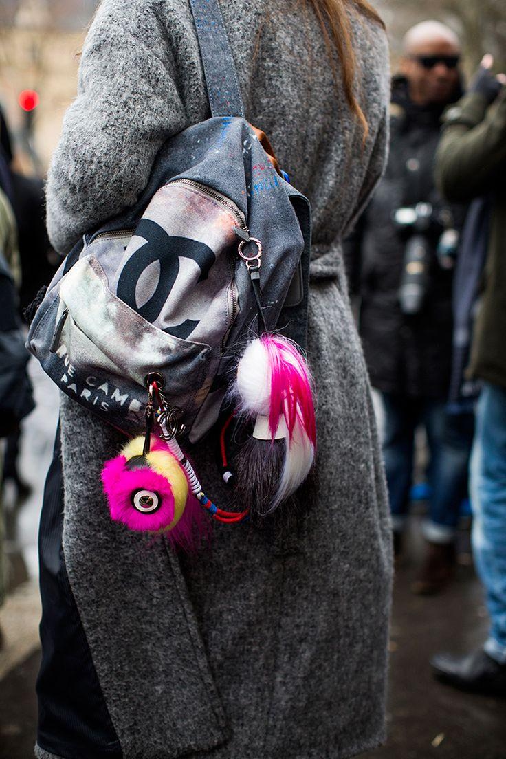"""Chanel """"Artschool backpack"""" from spring 2014 runway worn during couture week jan 2015"""