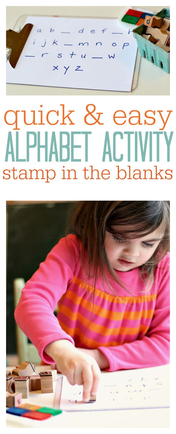 Super easy alphabet activity for kids. Throw this together anywhere and work on important literacy skills .