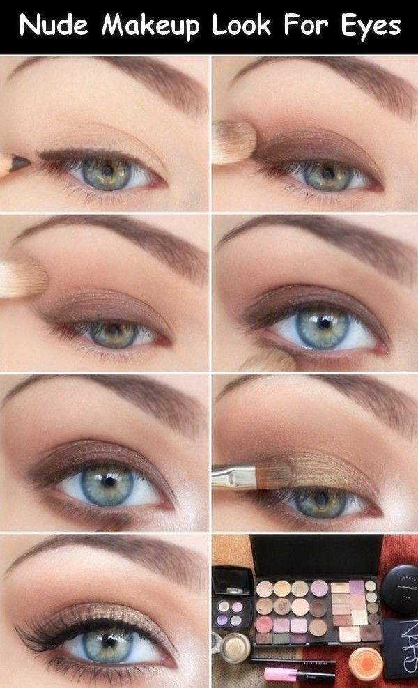 Nude makeup for daytime... I would never think to do eyeliner first! Definitely more subtle