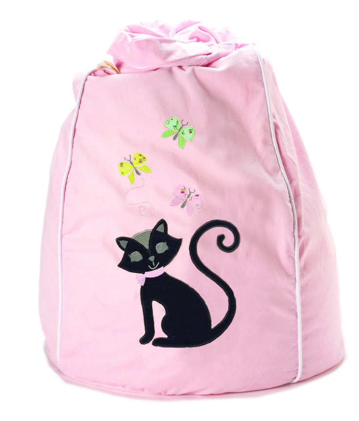 Pastel Pink, Black Cat, Kitty Kat bean bag, stylish and sweet. xx http://www.cocooncouture.com/