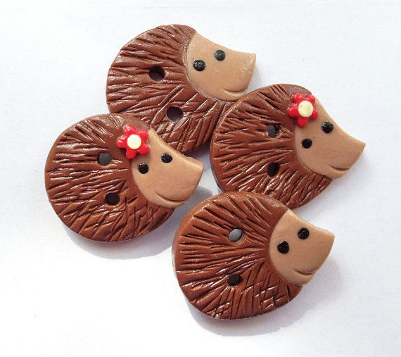 Hedgehog Buttons polymer clay handmade craft buttons - set of 4 READY TO SHIP!!