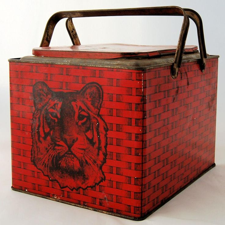 Antique Tiger Bright Sweet Chewing Tobacco Store Red Advertising Lunch Box Tin Picnic Lunchbox from @AntikAvenue on #RubyLane